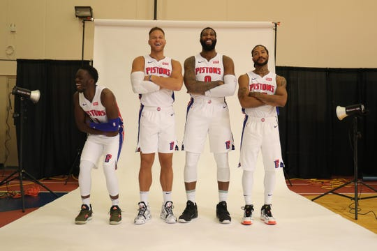 Detroit Pistons Reggie Jackson,Blake Griffin, Andre Drummond and Derrick Rose share laugh during media day Monday, September 30, 2019 at the Pistons practice facility in Auburn Hills, Mich.