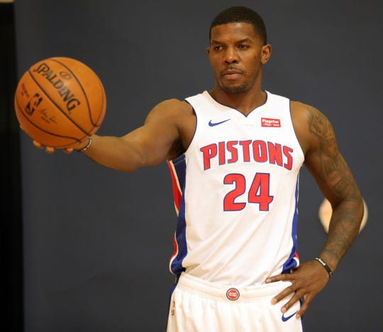 Detroit Pistons forward Joe Johnson poses during media day Monday, September 30, 2019 at the Pistons practice facility in Auburn Hills, Mich.