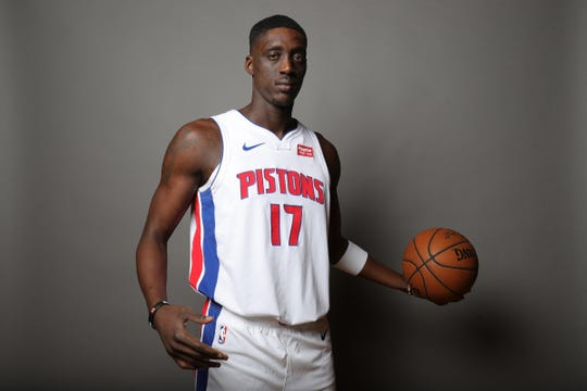 Detroit Pistons forward Tony Snell poses during media day Monday, September 30, 2019 at the Pistons practice facility in Auburn Hills, Mich.