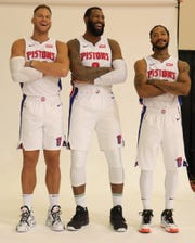 Detroit Pistons' Blake Griffin, Andre Drummond and Derrick Rose during media day Sept. 30, 2019 at the Pistons practice facility in Auburn Hills.