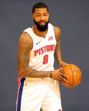 Detroit Pistons forward Markieff Morris poses during media day Monday, September 30, 2019 at the Pistons practice facility in Auburn Hills, Mich.