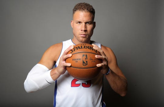 Detroit Pistons forward Blake Griffin poses during media day Monday, September 30, 2019 at the Pistons practice facility in Auburn Hills, Mich.