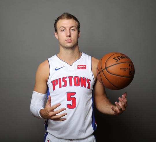 Detroit Pistons forward Luke Kennard poses during media day Monday, September 30, 2019 at the Pistons practice facility in Auburn Hills, Mich.