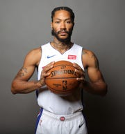 Detroit Pistons guard Derrick Rose poses during media day Monday, September 30, 2019 at the Pistons practice facility in Auburn Hills, Mich.