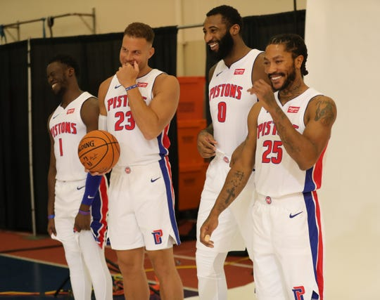Detroit Pistons Reggie Jackson, Blake Griffin, Andre Drummond and Derrick Rose share laugh during media day Monday, September 30, 2019 at the Pistons practice facility in Auburn Hills, Mich.