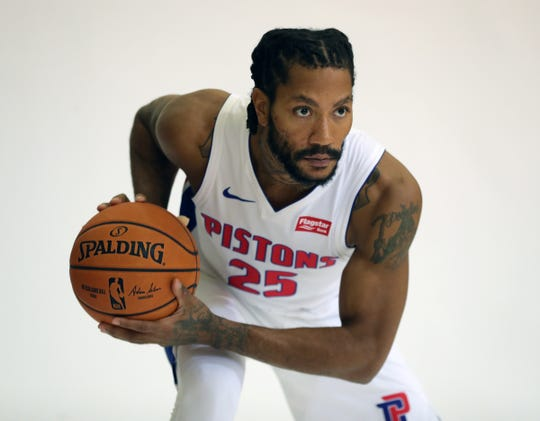 Detroit Pistons guard Derrick Rose during media day Sept. 30, 2019 at the practice facility in Auburn Hills.