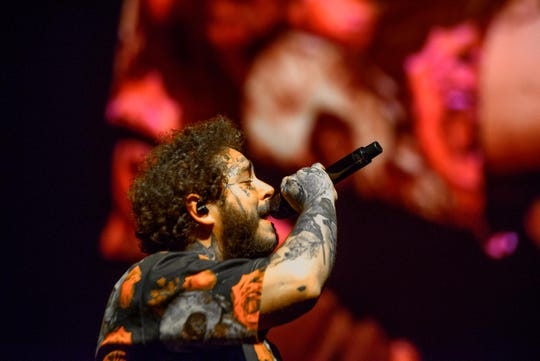 Post Malone performs at Little Caesars Arena, September 29, 2019.