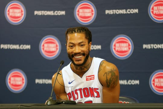 Detroit Pistons guard Derrick Rose talks with reporters during media day Monday, September 30, 2019 at the Pistons practice facility in Auburn Hills, Mich.