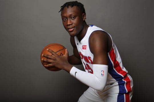 Detroit Pistons forward Sekou Doumbouya during media day Sept. 30, 2019 at the Pistons practice facility in Auburn Hills.