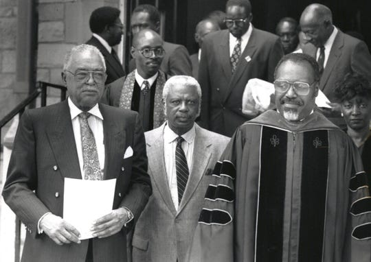 In 1989, (from left) Detroit Mayor Coleman Young, Judge Damon Keith and Rev. Charles G. Adams leave Buddy Battles' funeral. Battles was a UAW leader and an activist.