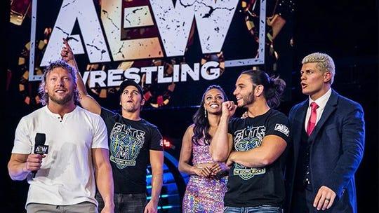 Kenny Omega, Nick Jackson, Brandi Rhodes, Matt Jackson and Cody Rhodes of All Elite Wrestling.