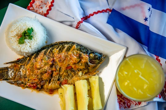 Central American restaurant Antojitos El Catracho will have a special of steamed fish with coconut milk, accompanied by white rice and seasoned Yucca.