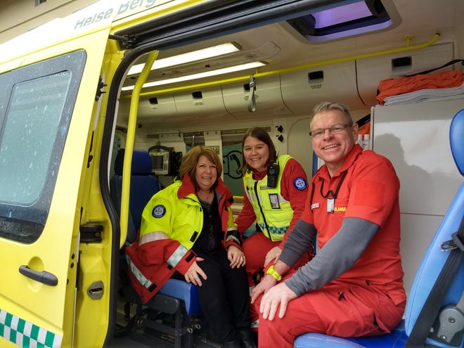 Detroit News reporter Karen Bouffard, left, rides along with two members of a crisis response team in Norway.