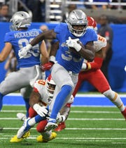 Lions running back Kerryon Johnson had a career-high 26 carries Sunday against the Chiefs.