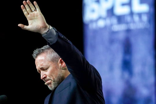 In this Wednesday, June 12, 2019 file photo, J. D. Greear, president of the Southern Baptist Convention, talks about sexual abuse within the SBC on the second day of the SBC's annual meeting in Birmingham, Ala. Greear blamed the crisis on years of cover-ups, but praised a new anti-abuse curriculum being offered to all of its churches and seminaries, and he said they must do better in screening potential pastors.