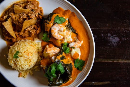 Southwest Detroit restaurant week brings shrimp-stuffed poblano peppers with cheese and chipotle sauce to the table at Centro Botanero, which opened in the spring.