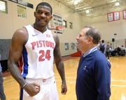 Arn Tellem, right, Pistons vice chairman, greets Joe Johnson, his former client when he was a sports agent.