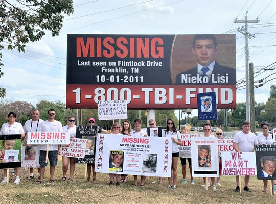 "Supporters of missing Addison resident Nieko Lisi hold their second ""Walk for Answers"" event in Franklin, Tennessee, where Lisi was last seen in October, 2011."