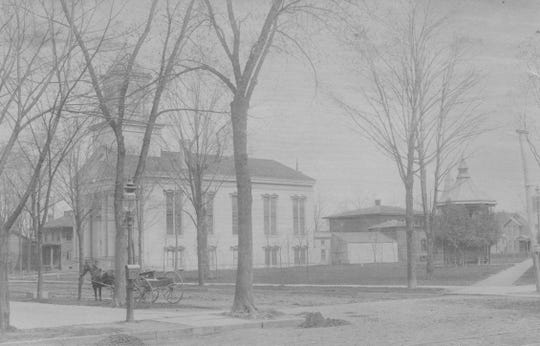 The First Baptist Church of Elmira, pictured in the 1880's after the fire.