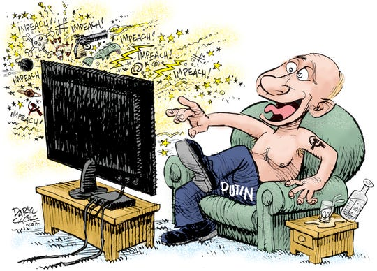 Putin laughs at impeachment talk.