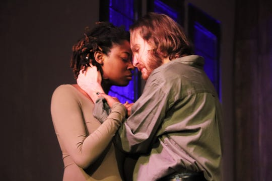 "Steven Coe and Imani Lee Williams as married couple John and Elizabeth Proctor in Lab Theater's ""The Crucible"""