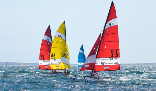 Pictured are the style of boats that will be used in the Hobie World Championships on Captiva Island.