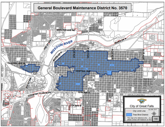 The city's tree boulevard district is in the blue areas.