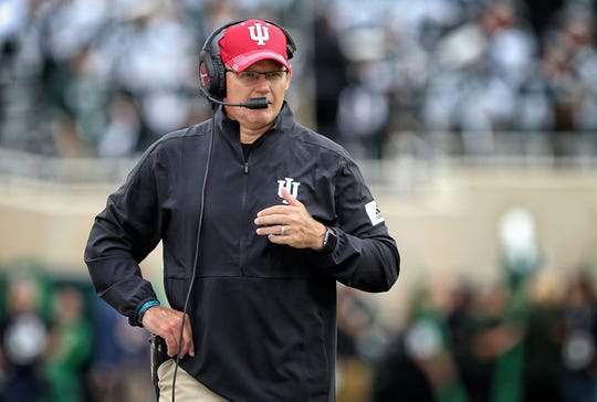 Indiana Hoosiers head coach Tom Allen on the field during the first half of a game against the Michigan State Spartans on Sept. 28, 2019, in  East Lansing, Michigan.