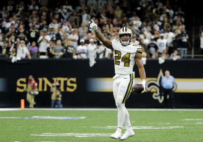 Sep 29, 2019; New Orleans, LA, USA; New Orleans Saints strong safety Vonn Bell (24) celebrates after recovering a fumble during the second quarter against the Dallas Cowboys at the Mercedes-Benz Superdome. Mandatory Credit: Derick E. Hingle-USA TODAY Sports