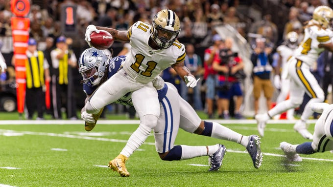 deonte Harris runs the ball as The New Orleans Saints take on the Dallas Cowboys in the Mecedes-Benz Superdome. Sunday, Sept. 29, 2019.