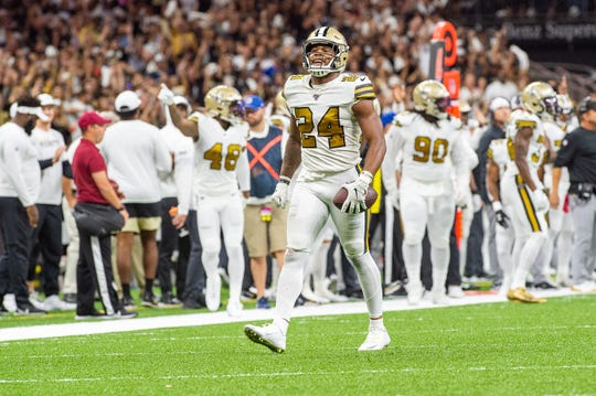 Vonn Bell celebrates after interception as The New Orleans Saints take on the Dallas Cowboys in the Mecedes-Benz Superdome.