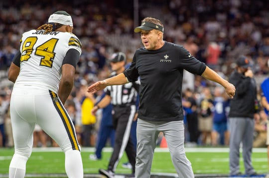 Head coach Sean Payton and Cameron Jordan during pregame as The New Orleans Saints take on the Dallas Cowboys in the Mecedes-Benz Superdome. Sunday, Sept. 29, 2019.