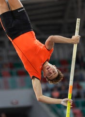 Sweden's Armand Duplantis competes in the pole vault men's final in Minsk, Belarus, on Sept. 10.
