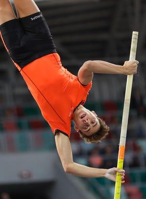 Sweden's Armand Duplantis competes in the pole vault men's final in Minsk, Belarus, on Sept. 10.