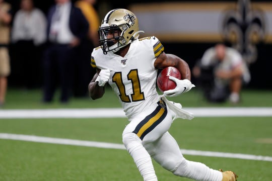 New Orleans Saints wide receiver Deonte Harris (11) carries in the first half of an NFL football game against the Dallas Cowboys in New Orleans, Sunday, Sept. 29, 2019. (AP Photo/Bill Feig)