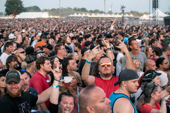 The crowd began to swell near the stages at sunset during day three of Louder Than Life. 9/29/19