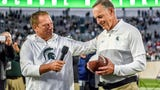 Mark Dantonio addresses the home crowd after being recognized as the Spartans winningest football coach after the Indiana game on Saturday, Sept. 28, 2019. Dantonio hit the milestone a week earlier with a win at Northwestern.