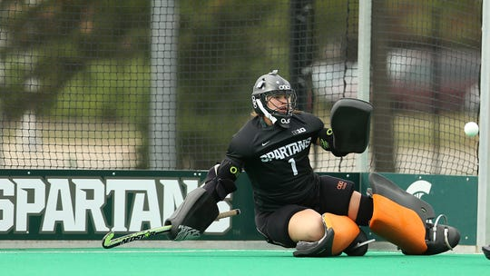 Michigan State field hockey goalie Jade Arundell prepares to make a save during a contest.
