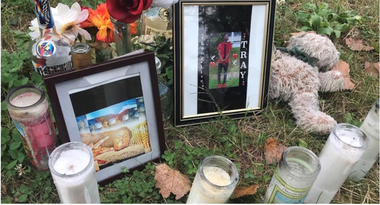 A shrine to Tray Smith honored the slain teen. It was recently desecrated.