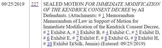 """A screen shot of the federal court docket entry related to the City of Memphis' request to modify the 1978 consent decree stopping the city from gathering """"political intelligence."""""""