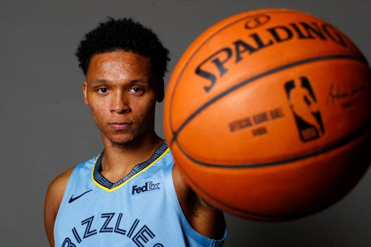 Memphis Grizzlies forward Ivan Rabb poses for portraits during the team's Media Day at the FedExForum downtown on Monday, Sept. 30, 2019.