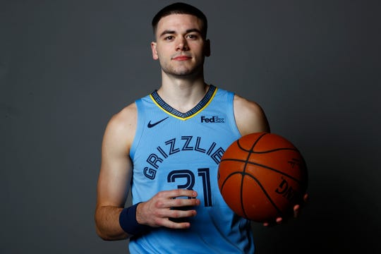 Memphis Grizzlies guard Matt Mooney poses for portraits during the team's Media Day at the FedExForum downtown on Monday, Sept. 30, 2019.