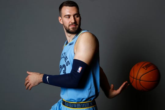 Memphis Grizzlies forward Marko Gudurić poses for portraits during the team's Media Day at the FedExForum downtown on Monday, Sept. 30, 2019.