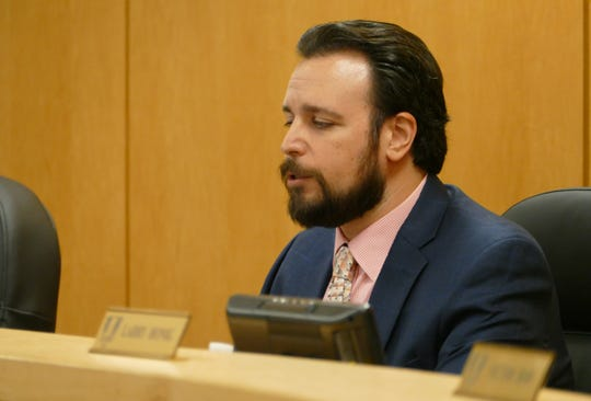 "Jared Grifoni, vice-chair of City Council, wrote in an email sent to the Eagle that the most important requirement within the Madeira-RR Restoration consent order is the restoration of the dune in the impacted area which includes the planting of 1,748 individual pieces of native vegetation. ""This will be 200% the original due to the unauthorized actions that took place,"" Grifoni wrote. In the picture, Grifoni speaks at a City Council meeting on Sept. 26."
