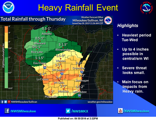 Heavy rain is forecast for central and southern Wisconsin on Tuesday and Wednesday.