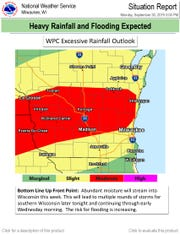 South central Wisconsin is at risk for heavy rainfall, according to the Weather Prediction Center which is part of the National Weather Service.