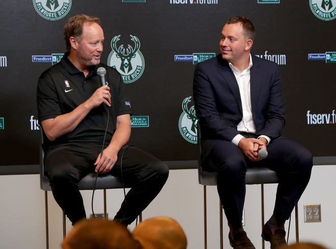 Head coach Mike Budenholzer, left, and GM Jon Horst hold a press conference during Bucks media day at Fiserv Forum on Sept 20, 2019.
