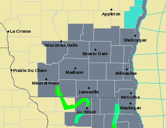 A dense fog advisory is in effect until late morning for all of southern Wisconsin on Monday.