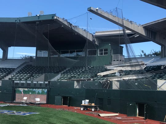 Louisiana Tech University's mangled baseball stadium, pictured here Sept. 30, looks the same as it did immediately after the tornado destroyed it five months ago on April 25, 2019.
