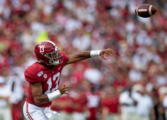 Alabama quarterback Tua Tagovailoa (13) passes against Ole Miss at Bryant-Denny Stadium in Tuscaloosa, Ala., on Saturday September 28, 2019.